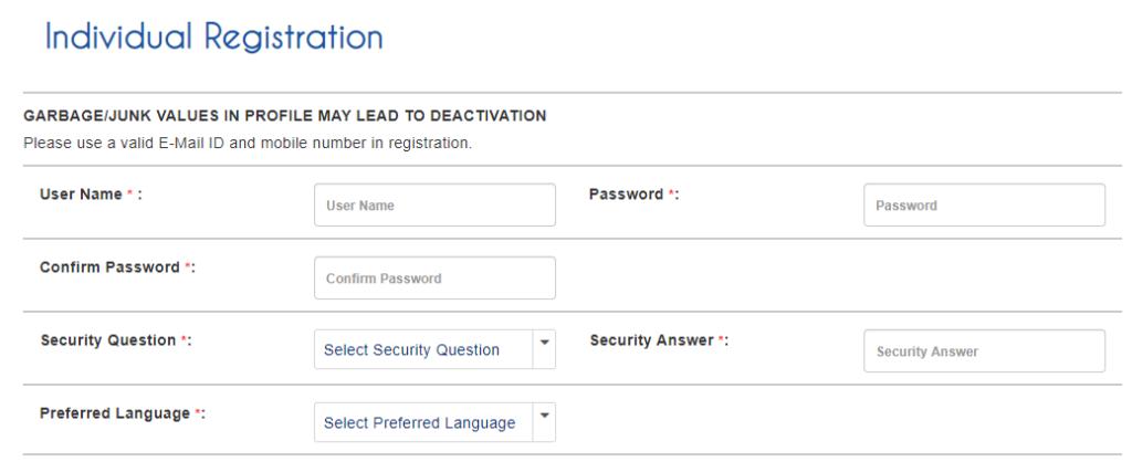 IRCTC Account Individual Registration
