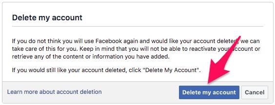 फेसबुक अकाउंट डिलीट