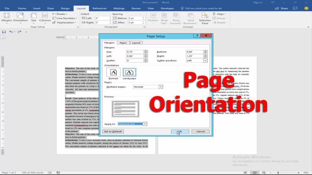 पेज ओरियंटेशन क्या है ?